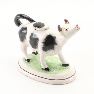 English Staffordshire Ceramic Cow Creamer, Early 20th Century