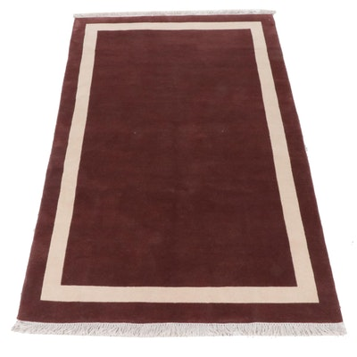 5'1 x 8'4 Hand-Knotted Nepalese Mid Century Modern Style Rug