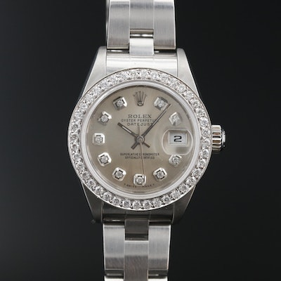 2000 Rolex Datejust 18K and Stainless Steel Diamond Automatic Wristwatch