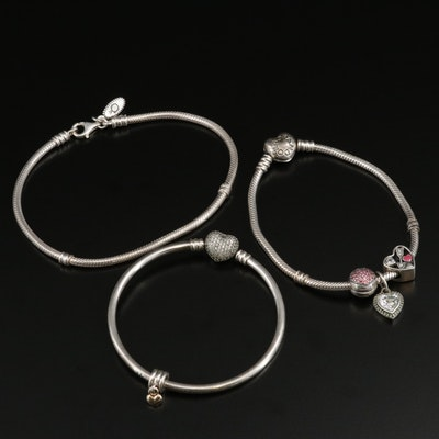 Pandora Sterling Silver Charm Bracelets Including Cubic Zirconia and Enamel