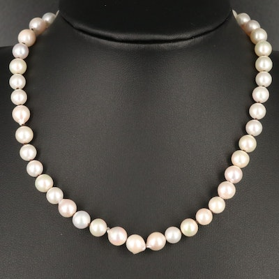 Knotted Pearl Necklace with 14K Diamond Accented Clasp