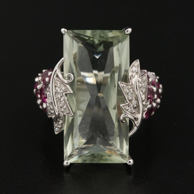 Sterling Prasiolite, Rhodolite Garnet and Diamond Leaf Statement Ring