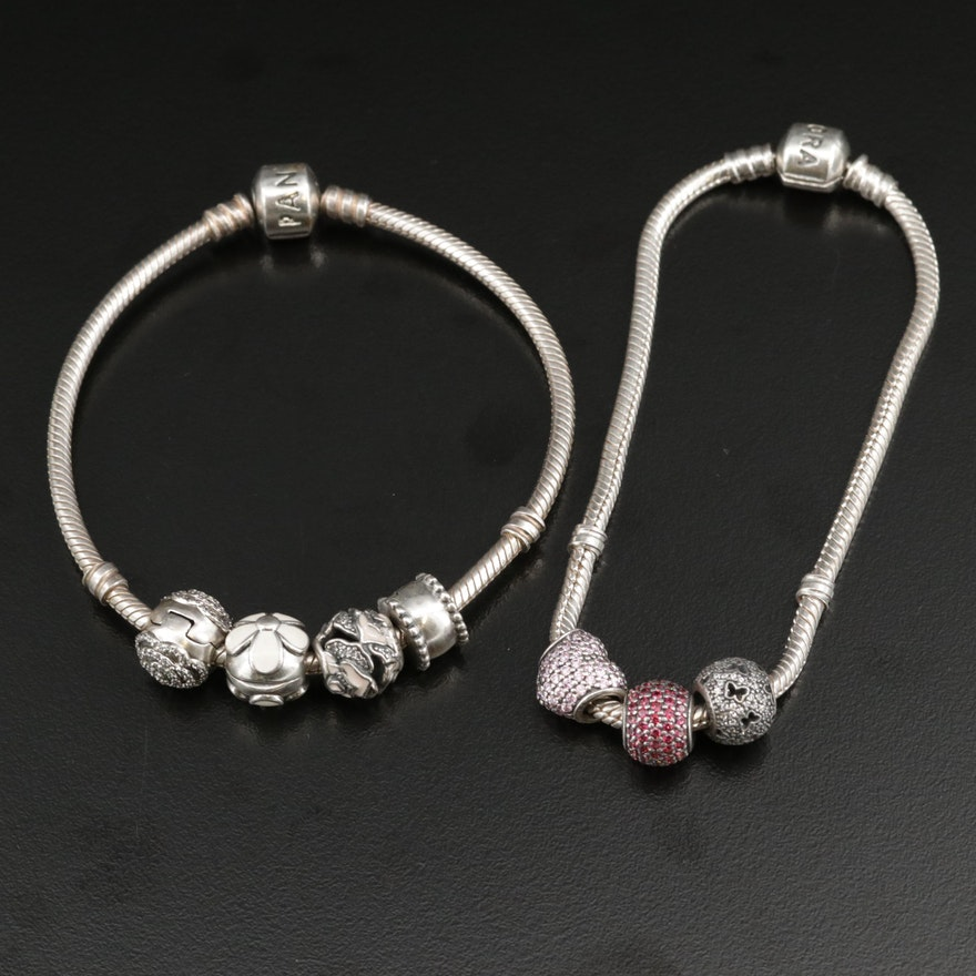 Pandora Sterling Silver Cubic Zirconia and Enamel Charm Bracelets
