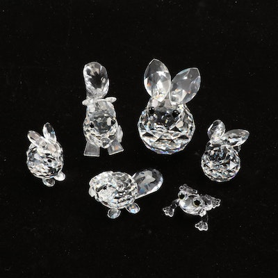 Swarovski Silver Crystal Rabbit, Squirrel, Frog and Beaver Figurines