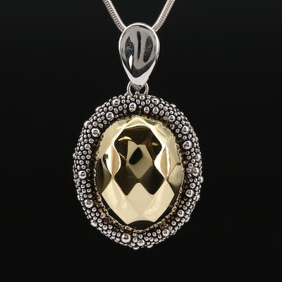 Michael Dawkins Sterling Silver Enhancer Pendant on Fine Silver Necklace