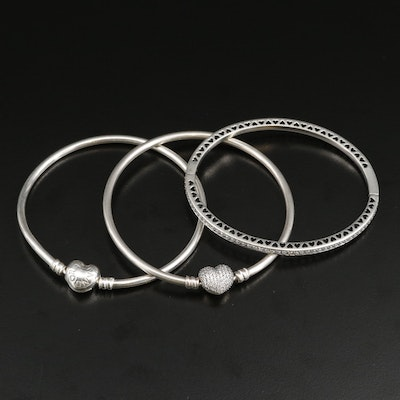 Pandora Sterling Cubic Zirconia Charm and Heart Cut Out Bangle Bracelets