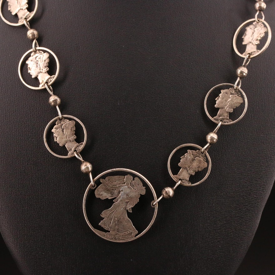 Silhouette Coin Necklace with Altered Mercury Dimes and Walking Liberty Dollar