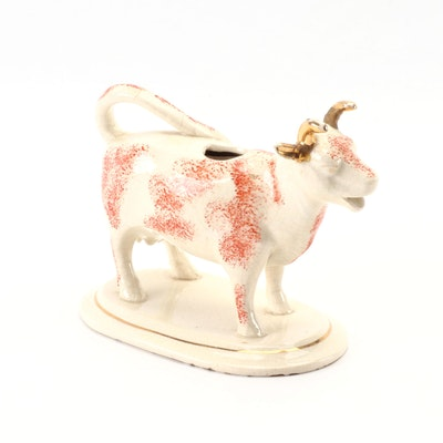 English Staffordshire Ceramic Cow Creamer, Early 19th Century