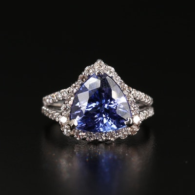 14K Gold 4.02 CT Tanzanite and Diamond Ring