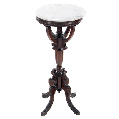 Victorian Walnut Marble Top Plant Stand, Late 19th Century