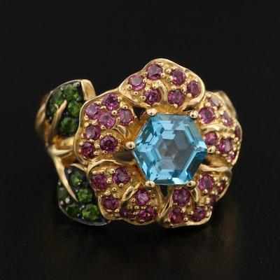 Sterling Silver Topaz, Rhodolite Garnet and Diopside Flower Ring