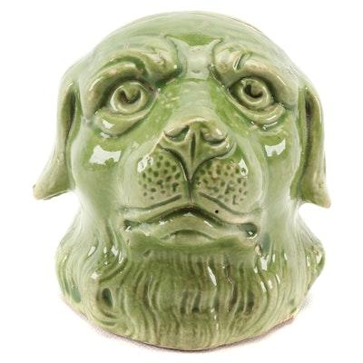 Victorian Green Glaze Ceramic Dog Head Bank, Late 19th Century