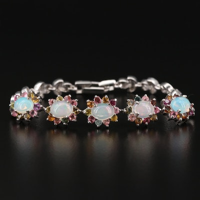 Sterling Sterling Opal, White Sapphire, Tourmaline and Garnet Bracelet