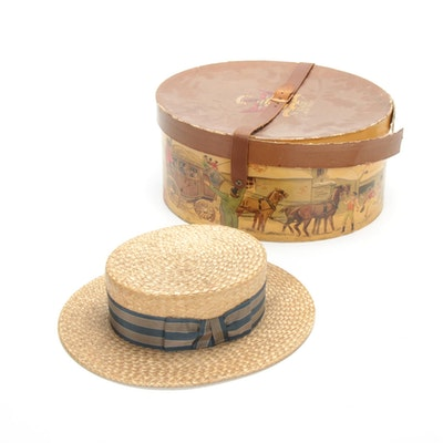 Straw Boater Hat by The Temple Hat Company, Antique