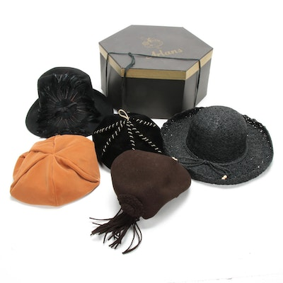 Vintage Hats Including Feathered and Arlans Hat Box, Mid to Late 20th Century