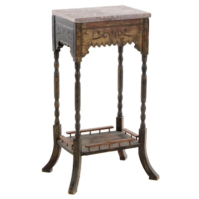 Victorian Eastlake Ebonized Wood Marble Top Stand, Late 19th Century