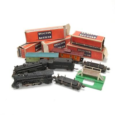 Lionel O Gauge Electric Train Cars Including Passenger Platform