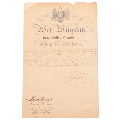 Wilheim I, King of Prussia, Signed Decree Appointing F. Friese, Seminar Director