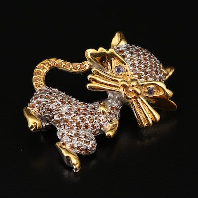 Sterling Silver Tanzanite and Yellow Sapphire Cat Brooch