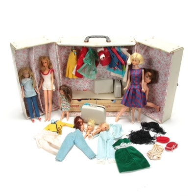 Barbie and Skipper 1964 Carrying Case, Dolls and Accessories