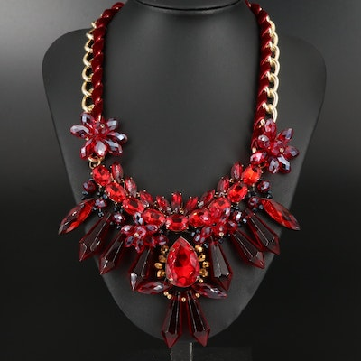 Red Rhinestone Collar Necklace