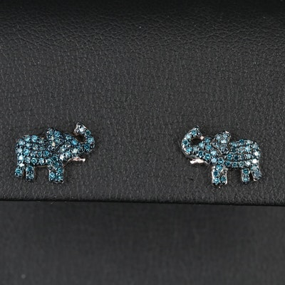 Sterling Silver Diamond Elephant Stud Earrings