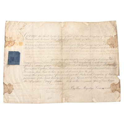 King George III Decree Appointing Johnathan Brown as Captain Lieutenant COA