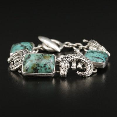 Citlal Castillo Sterling Turquoise Alligator Motif Bracelet