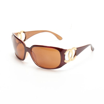Chanel 6014 CC Sunglasses in Maroon Red/Amber Brown