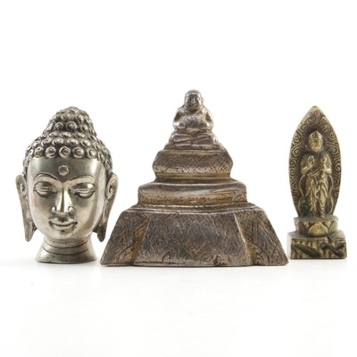 East Asian Brass, Metal, and Wood Buddha Figurines, 20th Century