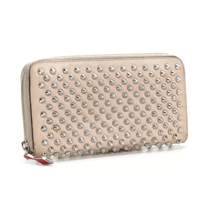 Christian Louboutin Panettone Spiked Wallet in Beige/Blush Leather