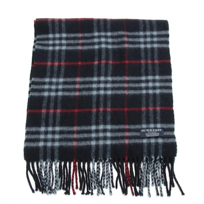 Burberry Cashmere Navy Check Fringed Scarf