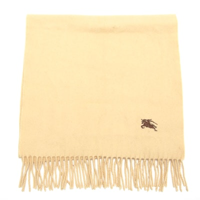 Burberrys Cashmere Fringed Scarf in Camel with Brown Embroidered Logo