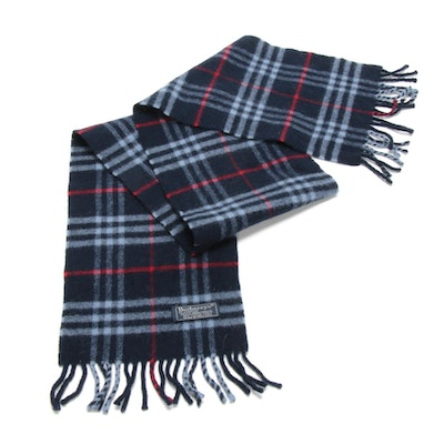 Burberrys of London Lambswool Navy Check Fringed Scarf