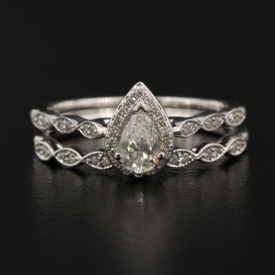 14K Diamond Ring and Shadow Band Set