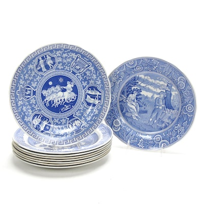 """Spode Blue Room Collection Dinner Plates Including """"Seasons"""", """"Rome"""", """"Willow"""""""