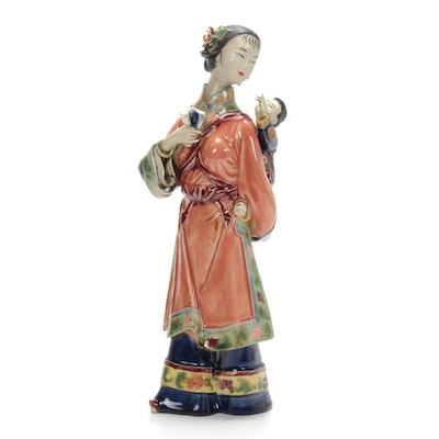Signed Chinese Porcelain Woman With Baby