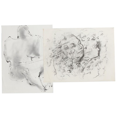 John Tuska Figural Ink and Graphite Drawings, 1971