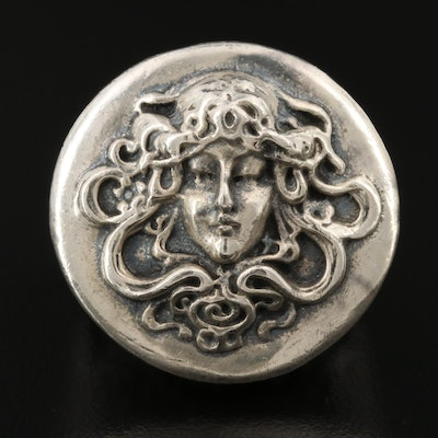 Vintage Cast Art Nouveau Style Sterling Silver Cameo Ring