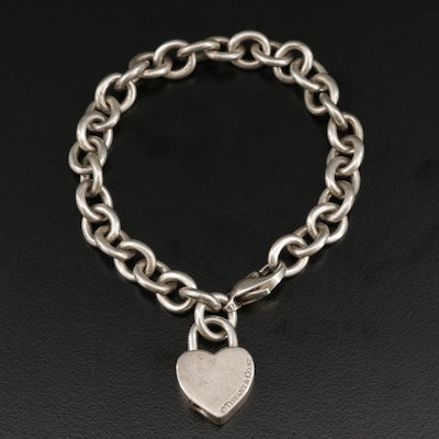 "Tiffany & Co. Sterling Silver ""I Love You"" Heart Padlock Bracelet"