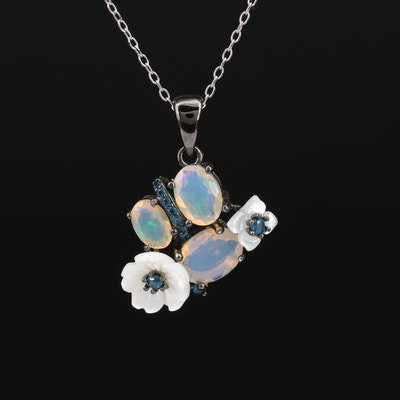 Sterling Silver Opal, Apatite and Mother of Pearl Floral Motif Pendant Necklace