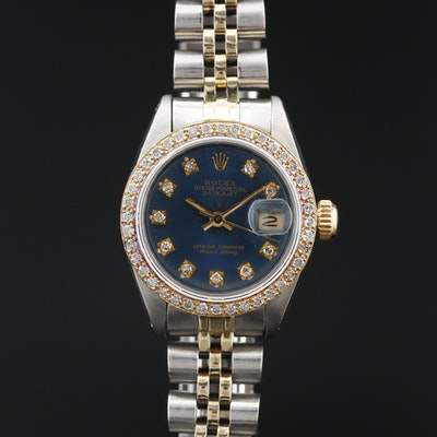1981 Rolex Datejust  14K , 18K and Stainless Steel Diamond Automatic Wristwatch