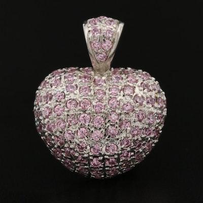 Sterling Silver Pavé Purple Cubic Zirconia Heart Pendant
