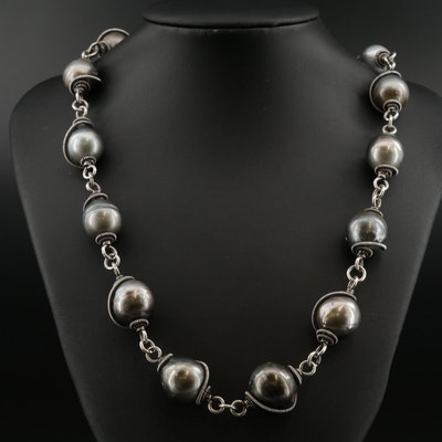 Sterling Pearl Coil Wrapped Necklace
