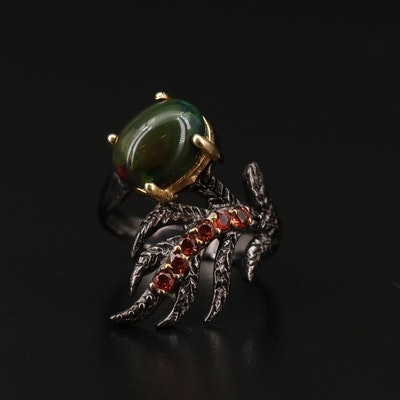 Sterling Silver Opal and Garnet Feather Motif Ring