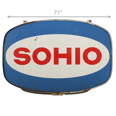 Large SOHIO Gas Station Hanging Sign, Mid-20th Century