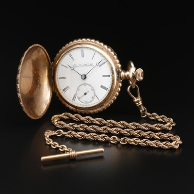 1897 Elgin Gold Filled Hunting Case Pocket Watch with Chain Fob