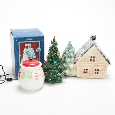Ceramic Musical Fountain, Illuminated Christmas Tree Lamp and Other Decor