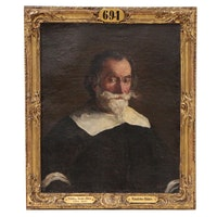 Follower of Jusepe de Ribera Oil Portrait of Gentleman, Late 17th Century