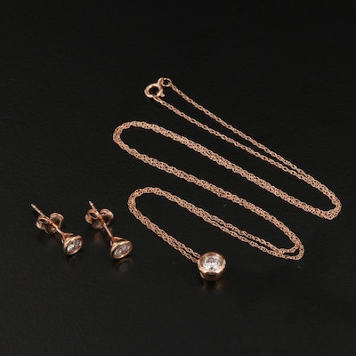 14K Rose Gold Diamond Solitaire Necklace and Martini Earrings